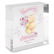Forever Friends Flowers Personalised Large Crystal Block