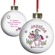 Personalised Pony Princess Ceramic Bauble