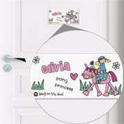 Personalised Pony Princess Ceramic Door Tile