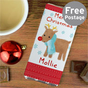 Personalised Felt Stitch Reindeer Chocolate Bar