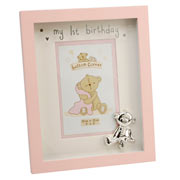 Button Corner My 1st Birthday Pink Photo Frame