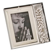 Holy Communion Cross Frame and Rosary Bead Set