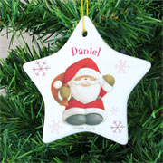Personalised Forever Friends Santa Ceramic Star Decoration