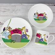 Personalised 3 Piece China Zoo Children's Breakfast Set