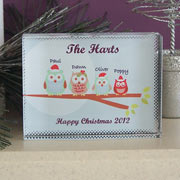 Owl Family Christmas Crystal Keepsake