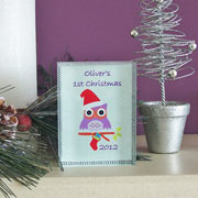 Owl 1st Christmas Personalised Crystal Keepsake