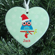 Personalised Christmas Owl Ceramic Heart