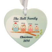 Personalised Christmas Owl Family Ceramic Heart