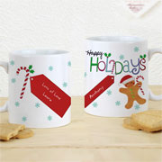 Personalised Happy Holidays Gingerbread Man Mug Exclusive