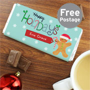 Personalised Happy Holidays Chocolate Bar