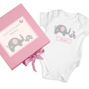Personalised 'Elephants' Baby Girl Gift Set