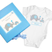 Personalised Elephants Baby Boy Gift Set