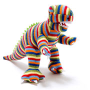 Best Years Striped Knitted T-Rex Dinosaur Soft Baby Toy