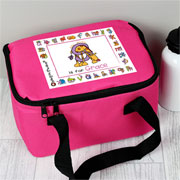 Girl's Personalised Pink Animal Alphabet Insulated Lunch Bag