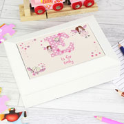 Personalised Fairy Initial Letter White Wooden Jewellery Box