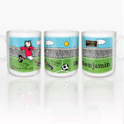 Personalised Ceramic Bang on the Door Football Crazy Mug