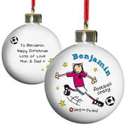 Personalised Ceramic Football Crazy Bauble