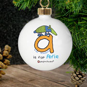 Personalised Ceramic Boys Animal Alphabet Bauble
