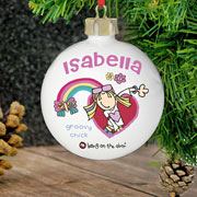 Personalised Ceramic Groovy Chick Bauble