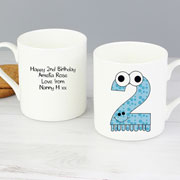 Personalised China Monster Age 2 Second Birthday Mug