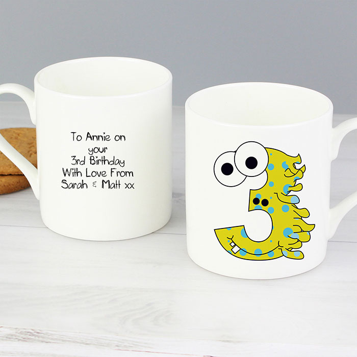 Personalised China Monster Mug Age 3