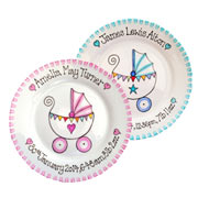 Hand Made New Baby Gift Plate Pink or Blue Pram