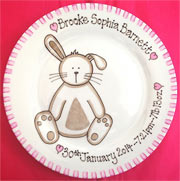 Baby Gift Plate Bunny Rabbit Design