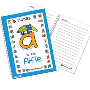 Personalised Blue Animal Alphabet Notebook