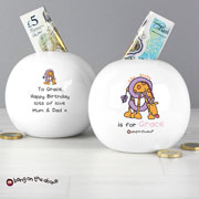Personalised Girls Animal Alphabet China Money Box