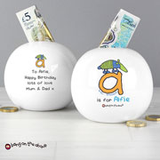 Personalised Boys Animal Alphabet China Money Box