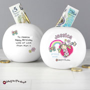 Personalised Groovy Chick China Money Box