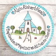 Boys Christening Gift Plate Church Design