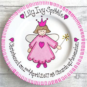 Personalised Christening Gift Plate Pink Fairy Design
