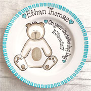 Personalised Baby Gift Plate Teddy Pink or Blue