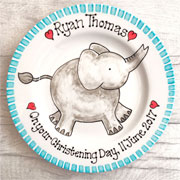 Personalised Baby Gift Plate Elephant Pink or Blue
