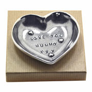 Pewter 'Love You Mummy' Heart Keepsake Dish