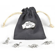 Silver Dinosaur Zoo Charms in a Pouch - Tales From The Earth