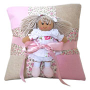 Pink Personalised Name Cushion & Rag Doll Gift Set