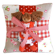 Red Personalised Name Cushion and Rag Doll Gift Set