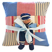 Blue Personalised Name Cushion and Sailor Doll Gift Set