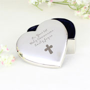Personalised Heart-Shaped Cross Trinket Box