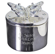 Personalised Engraved Butterfly Trinket Box