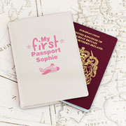 Personalised Leather My First Passport Holder - Pink