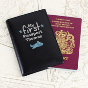 Personalised Leather My First Passport Holder Black