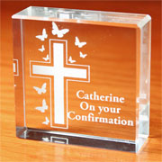 Engraved Cross and Butterfly Medium Crystal Token