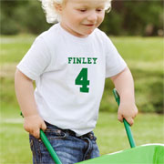 Personalised Green Name and Number T Shirt 3 to 4 Years