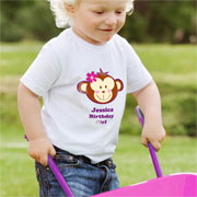 Personalised Monkey Girl T Shirt 3to4 Years
