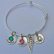 Adjustable Stainless Steel Hand Stamped Mummy Bracelet
