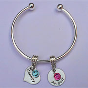 Silver Plated Hand Stamped Charm Bangle