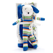 Fair Trade Organic Stroller Blanket Scrappy Dog Gift Set